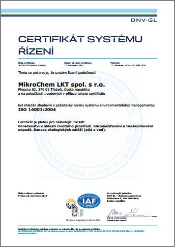 Certifikát ISO 14001 Mikrochem
