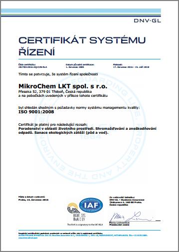 Certifikát ISO 9001 Mikrochem