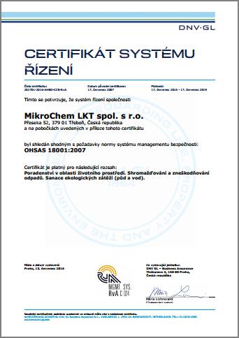Certifikát OHSAS 18001 Mikrochem