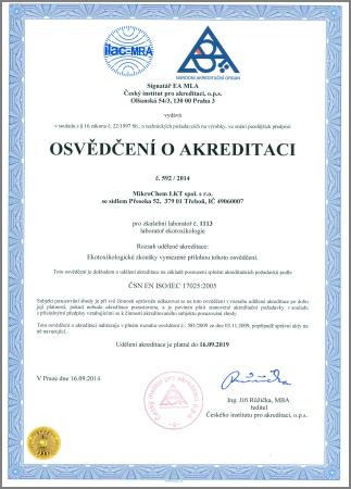 Osvědčení o akreditaci Mikrochem